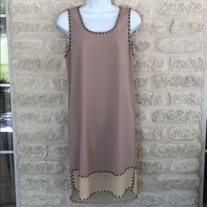 Ya Los Angeles tan studded sheath tank dress L